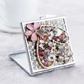 Festa de casamento da dama de honra menina amigo presente, bling cristal strass flor do coração, Beleza maquiagem compacto de bolso mini espelho