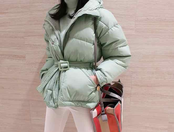 982138270825 ... В Корейском стиле Модные свободные утепленные парки пальто женские  теплые зимние новый пояса Куртки 2018 женские ...