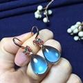 fine jewelry18k rose gold natural london blue topaz 16.45ct 12*17mm earrings for women