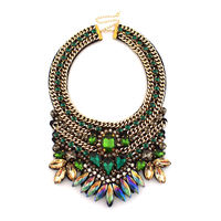 UKMOC Fashion Jewelry Women Party Accessories Luxury Chokers Multicolor Crystal Gold Color Chain Collar Statement Necklaces