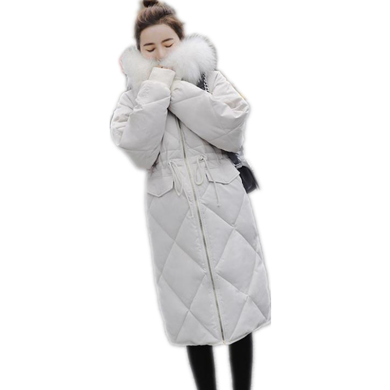 Fashion Hooded Large Fur Collar Winter Women Jackets 2018 Loose Down Cotton Jacket With Sashes Female   Parkas   Thicken Padded Q635