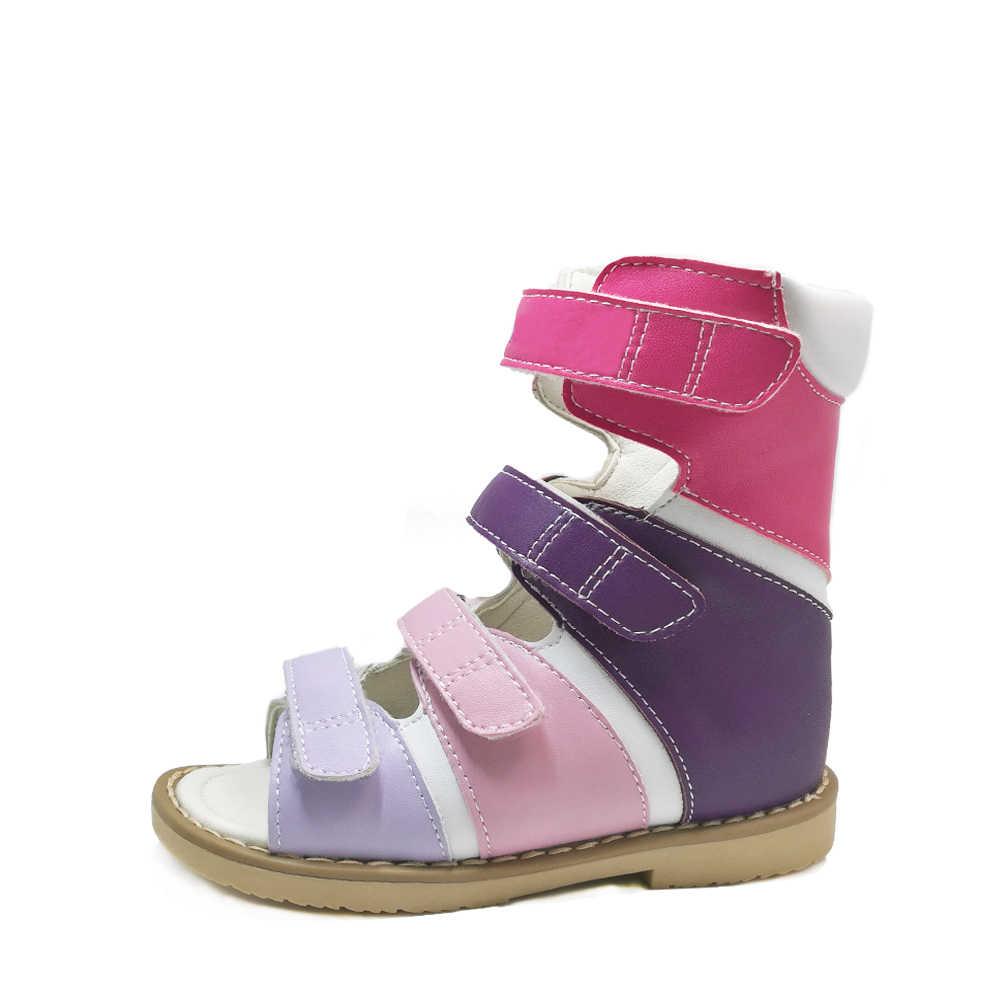 Anak Kecil Anak Perempuan Dingin High-Top Korektif Ortopedi Tahan Dr Sepatu Sekolah Warna Kulit Asli Sandal untuk Musim Semi Musim Panas