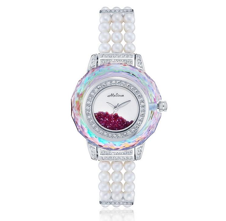 Vogue MELISSA ผู้หญิงไข่มุกนาฬิกา Elegant Lady Party ชุดเครื่องประดับนาฬิกา Multi   faceted ตัด Rhinestone Relojes Quartz MG956-ใน นาฬิกาข้อมือสตรี จาก นาฬิกาข้อมือ บน   3