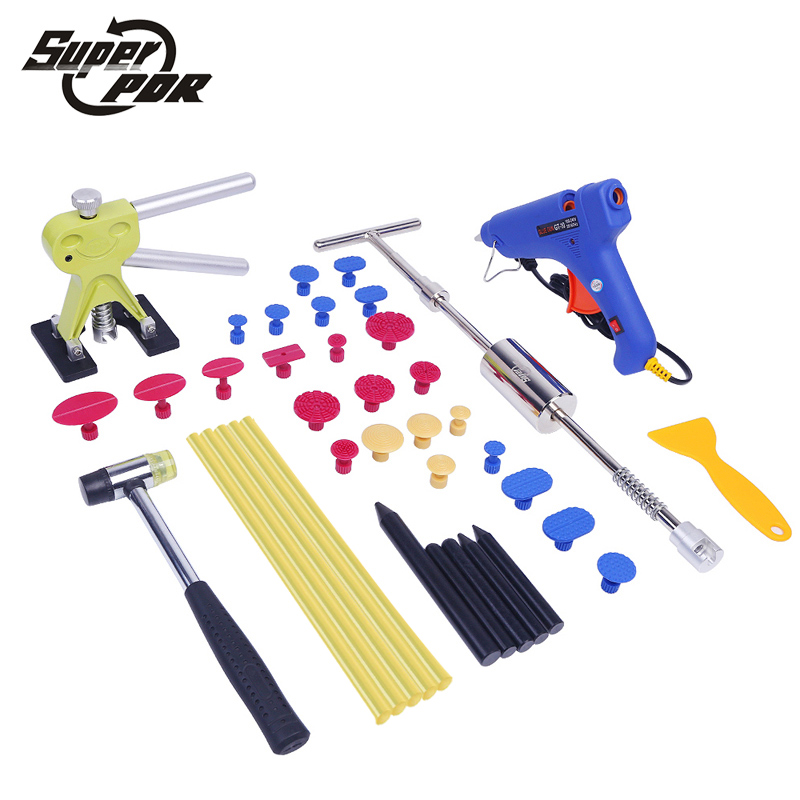купить PDR Paintless Car Dent Repair Tool set Slide Hammer Glue Gun Dent Puller auto body repair tools Dent removal tool kit по цене 4538.83 рублей