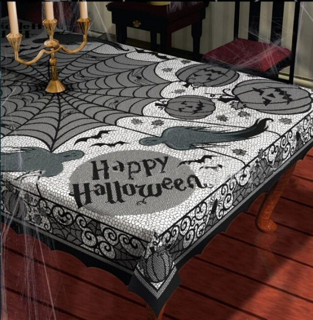 Halloween Party Black Lace Spider Web Tablecloth Tablecover Decoration  Rectangle 60*80inch