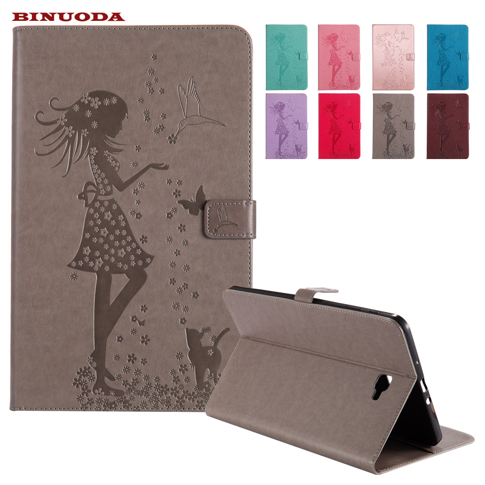 Woman and Cat Embossed Flip PU Leather Case Magnetic Closure Smart Cover For Samsung Galaxy Tab A 10.1 SM-T585 Case 2016 T580 ultra thin smart flip pu leather cover for lenovo tab 2 a10 30 70f x30f x30m 10 1 tablet case screen protector stylus pen