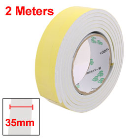 Uxcell Hot Sale 35mm Width 5mm Thickness EVA Single Side Sponge Foam Tape 2 Meters Length White, Yellow Insulation Tape 1PCS