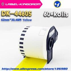 60 rolek Generic Brother DK-44605 etykiety 62mm * 30.48M żółty kolor kompatybilny dla Brother QL-570/700 wszystkie pochodzą z plastikowym uchwytem