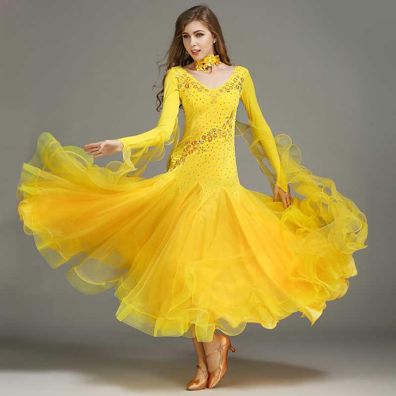 1eeb1ad6fc07 ... Standard Ballroom Dresses Women Long Sleeve Lycra Stretchy Ballroom Dancing  Costume Adult Waltz Ballroom Competition Dance ...