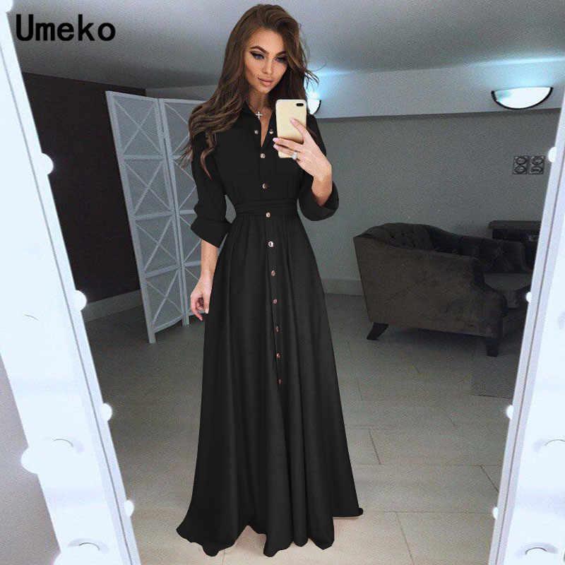 Umeko черное белое платье-рубашка женское платье с отложным воротником однотонное весеннее Макси женское платье с длинным рукавом Повседневное платье женское элегантное