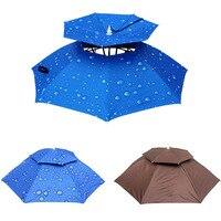 Faltbare Regen Getriebe Angeln Hut Outdoor Headwear Regenschirm Für Camping Wandern Angeln Strand UV Schutz Gesicht Sonnenschirm Kappe