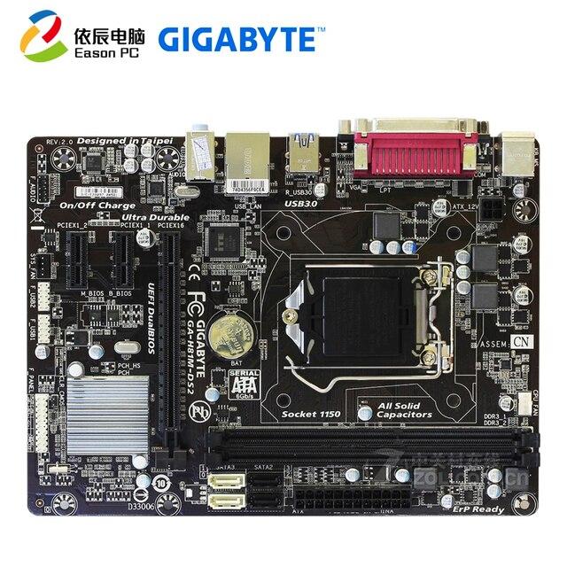 GIGABYTE GA H81M DS2 carte mère de bureau LGA1150 i3 i5 i7 DDR3 USB3.0 Micro atx