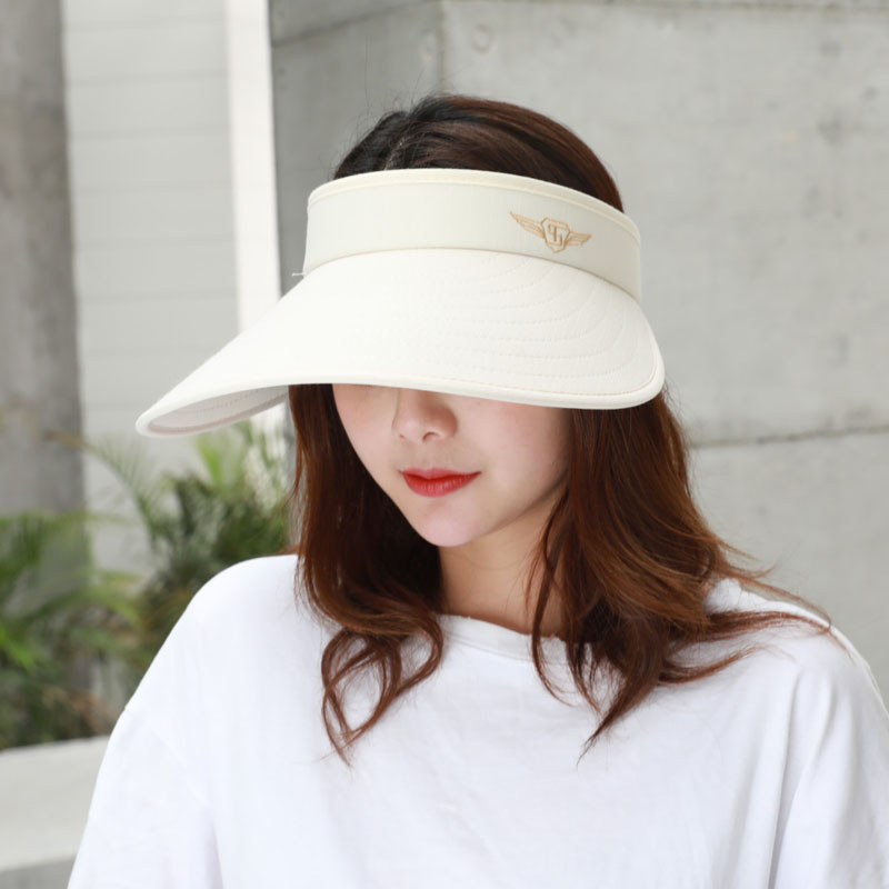 Women Summer Foldable Embroidered Baseball Cap Adjustable Empty Top Sunhat with Wide Brim -MX8