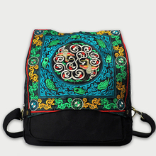 Unisex Ethnic Embroidered Backpack Fashion Chinese Green Pattern Canvas Casual Travel Vintage Rucksack Back Bag