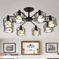 Korean Style Antique Rustic Ceiling Chandelier Lighting For Bedroom Living Room Black Cage Lampshade Kitchen Light