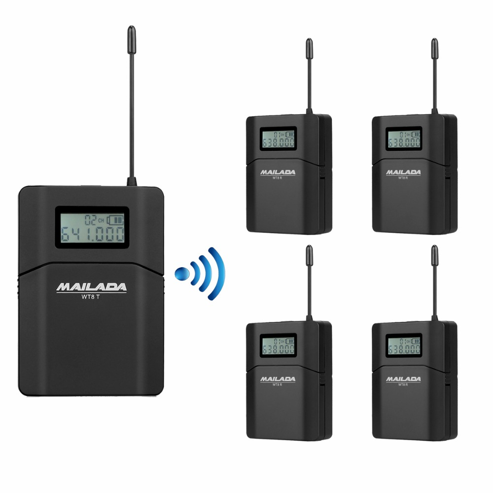MAILADA WT8 UHF 638-648MHz 1 Transmitter+4 Receivers Wireless Headset Microphone Audio Tour Guide System Simultaneous Teaching dhl shipping atg100 portable mini meeting tourism teach microphone wireless tour guide system 1transmitter 15 receivers charger