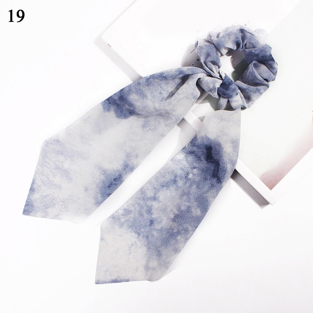 Модный летний шарф «конский хвост», эластичная лента для волос для женщин, бантики для волос, резинки для волос, резинки для волос с цветочным принтом, ленты для волос - Цвет: 19