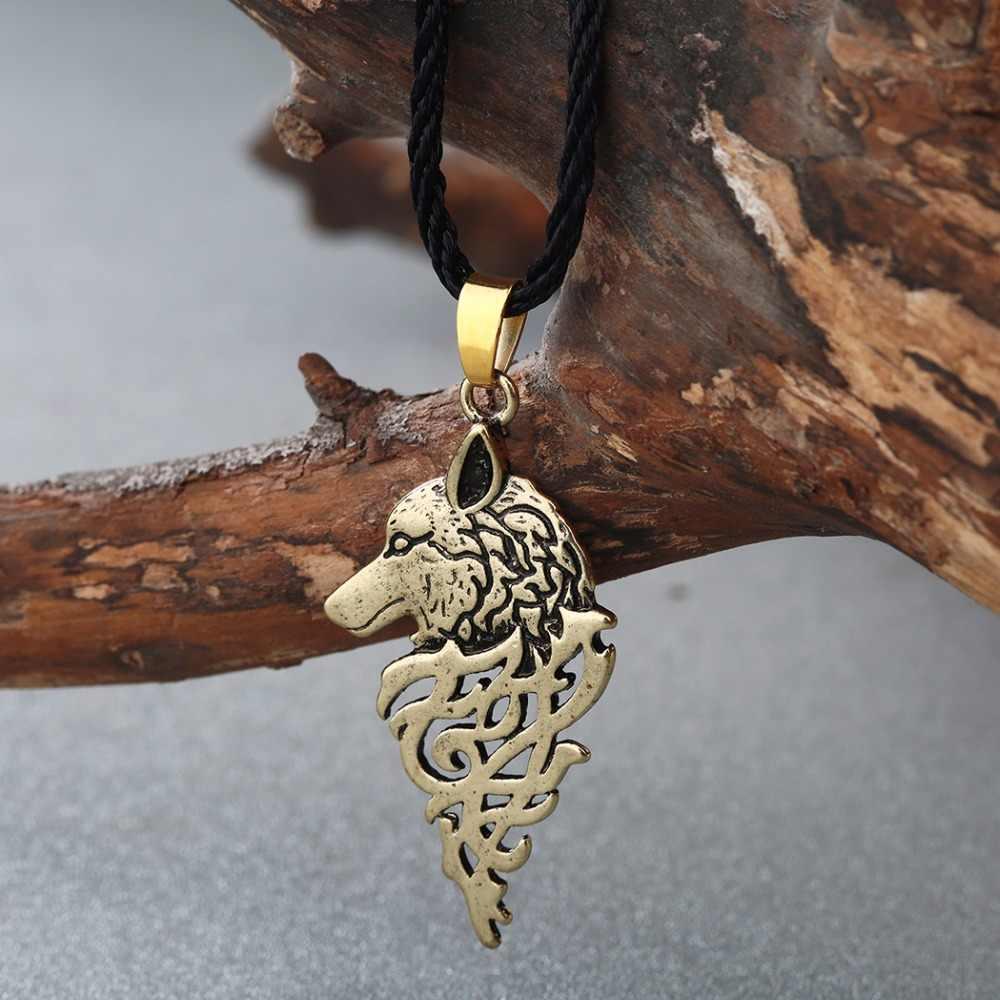 CHENGXUN Viking Wolf Knot Antique Religious Pendant Necklace Men Male Fashion Punk Cool Boys Collier