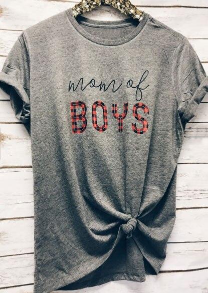 Мама Обувь для мальчиков футболка Для женщин топы с короткими рукавами серый o-образным вырезом 2018 стильный женский простой футболки; беспл...
