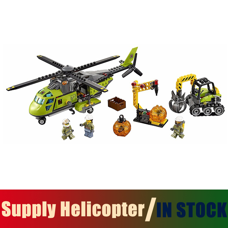 compatible with lego City 60123 Models building toy Building Blocks Volcano Supply Helicopter Excavator boulder opener tool