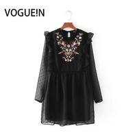 VOGUEIN New Womens Vintage Embroidery Floral Print Hollow Long Sleeve Chiffon Mini Dress Black Wholesale