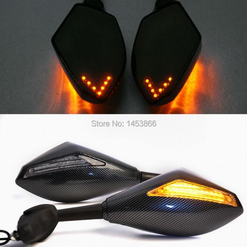 Carbon LED Turn Signal Rearview Side Mirrors For Honda CBR600 Kawasaki Ninja250R