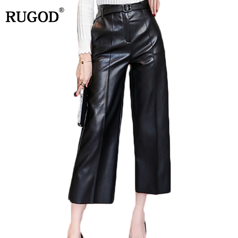 RUGOD 2017 New Spring Winter Women   wide     leg     pants   pu fashion ankle-Length   Pants   Solid Color casual loose pu   Pants   with belt