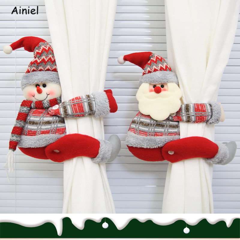 Merry Christmas Decoration Home Windows Christmas Creative Curtains Decorations Ornaments Red Santa Claus Snowman Elk New Year
