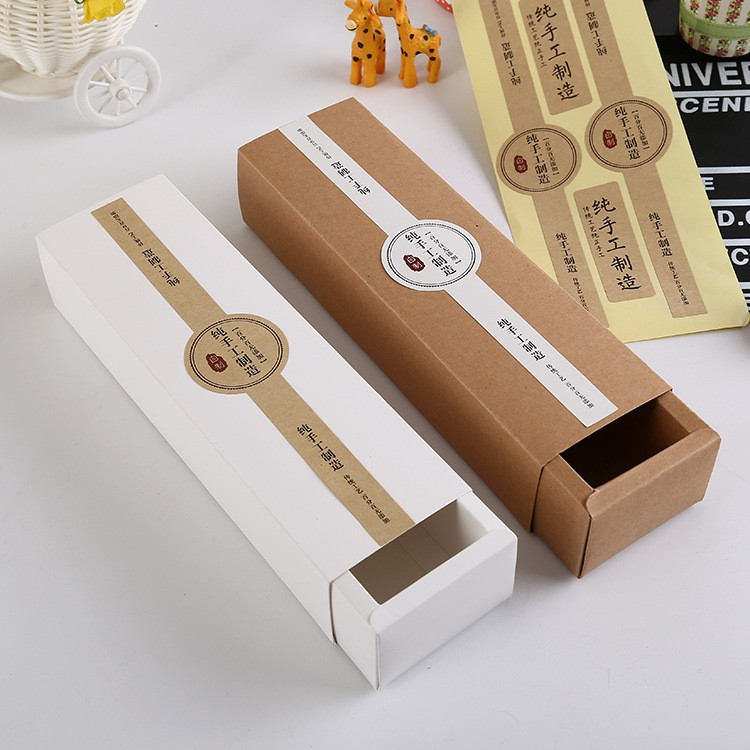 23.8*4.5*3.7cm Kraft Drawer Box Handmade Macaron Packaging Gift Craft Jewel Boxes 100pcs/lot Free shipping