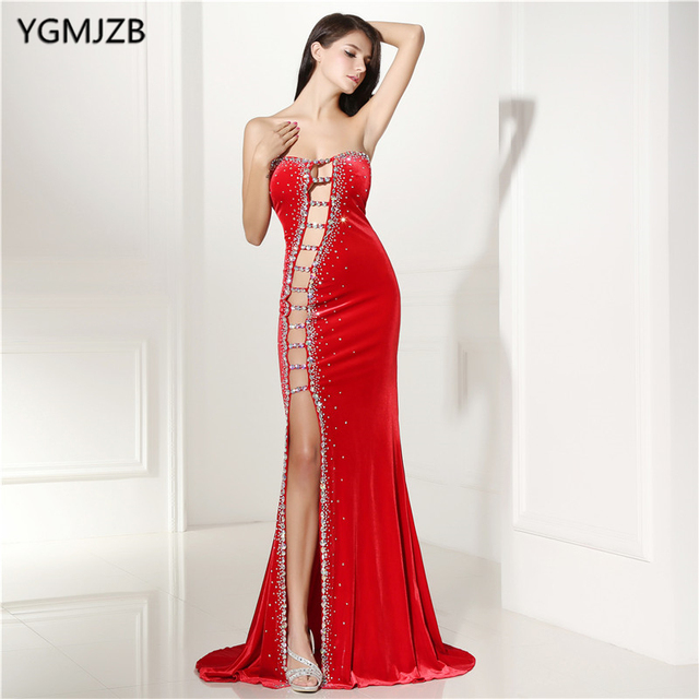 eca5f9f47f6dc Long Evening Dresses 2018 Mermaid Sexy Cot-out Beaded Sleeveless with Slit  Red Prom Dresses Women Formal Evening Party Gown