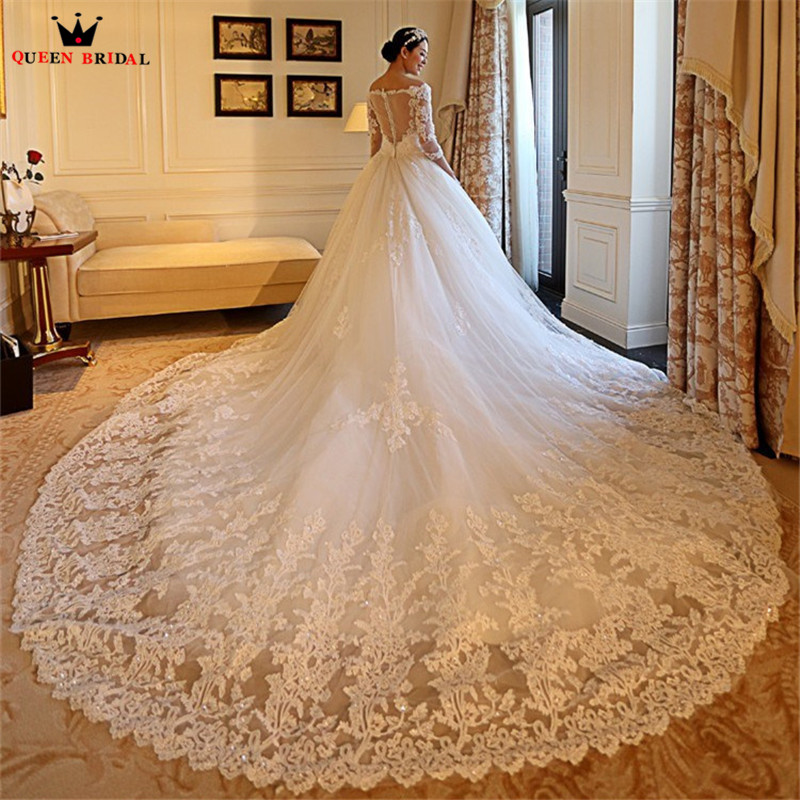 Custom Made Élégante robe de Bal Grand Trian 3 4 Manches Tulle Dentelle Perles des Robes De Mariée De Luxe Longue Formelle Robes De Mariée YB109S
