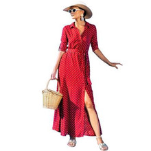 New Fashion Girls Dots Print Long Sleeve Dress Lapel Single Breasted High Quality Polyester Red Black Waist Belt Binding Split single breasted split front calico print skirt
