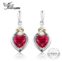 JewelryPalace Love Knot Heart 3 4ct Created Red Ruby Anniversary Drop Dangle Earrings Women 925 Sterling