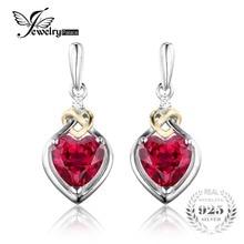Jewelrypalace 3.4ct creado rubí aniversario rojo nudo de amor corazón cuelga los pendientes de gota mujeres 925 plata esterlina 18 k oro amarillo
