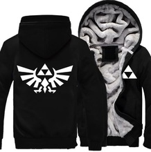 Hot New The Legend of Zelda Link Men Thicken Hoodie Anime Zipper Coat Jacket Winter Fleece  Sweatshirts Free Shipping