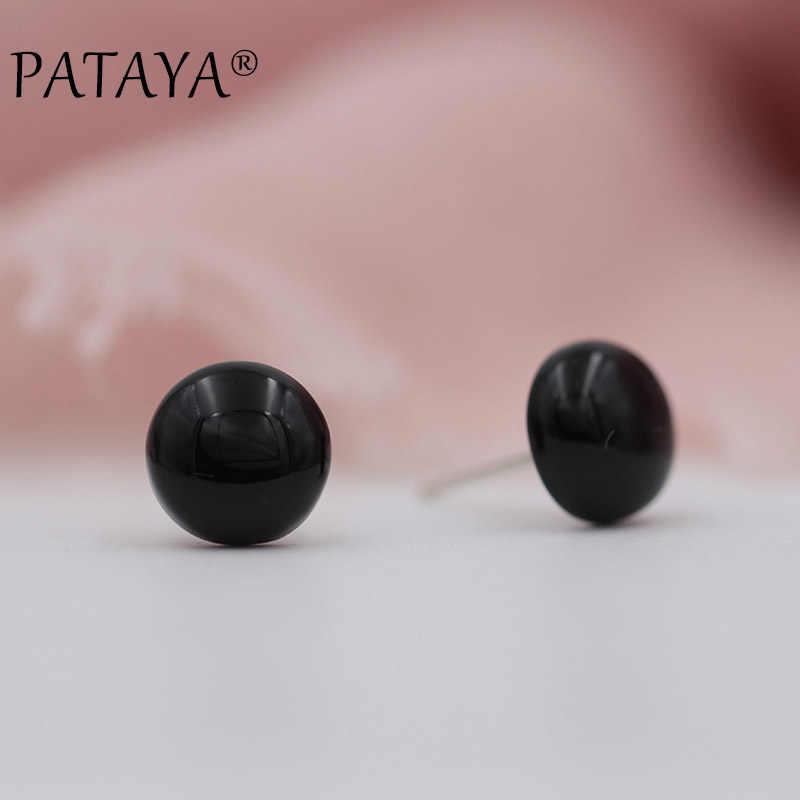 ¡Novedad! ¡moda! PATAYA ónix pendientes de negro, pendientes redondos de piedra Natural para mujer, pendientes de lujo para bodas, joyería