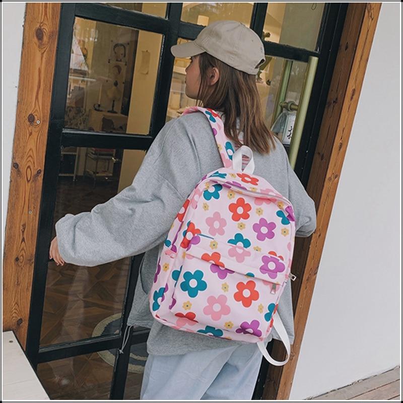 Women Print Waterproof Nylon Backpack Teenagers Girls School Bag Student Cute Floral Printing Sweet Travel Backpack Fashion Bag in Backpacks from Luggage Bags