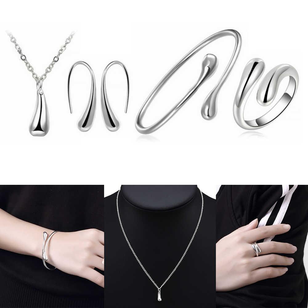 4 teile/satz Luxus Gold Farbe Für Mode Frauen Hochzeit Halskette Armband Ohrring Ring Schmuck Braut Hochzeit Schmuck Sets