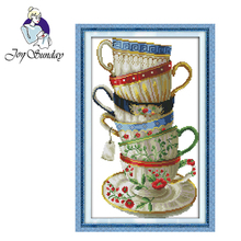 Joy Sunday,Coffee cup,cross stitch embroidery set,Needlework counted cross-stitch patterns,cross stitch with printed pattern joy sunday wine cross stitch embroidery set cross stitch pattern needlework counted cross stitch patterns chinese cross stitch