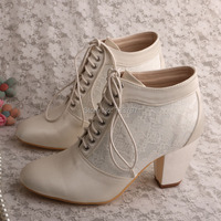 New Arrival Lace Up Half Boots For Wedding Shoes Bridal Chunky Heel 7 5CM Free Shipping