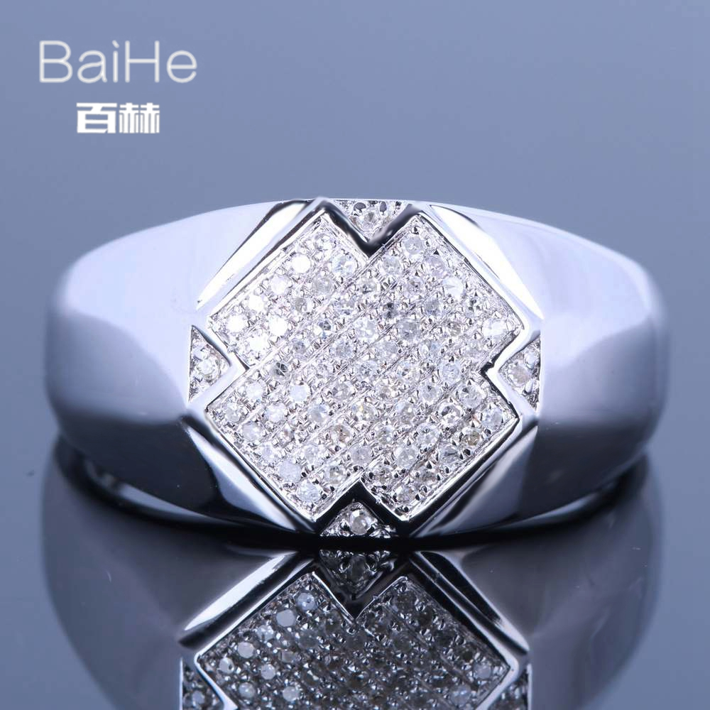 BAIHE Sterling Silver 925 0.3CT Certified H/I Round Cut 100% Genuine Natural Diamonds Engagement Men Trendy Fine Jewelry Ring