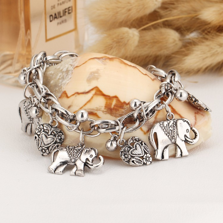 IF YOU Vintage Silver Color Elephant Charm Bracelet For Men Bohemian Statement Bracelets Bangles pulseira Feminina Jewelry Gift 8