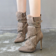 New Women Shoes High Heels Pointed Toe Boots with Fur Decor Winter Warm Cross Belt Design Stylish Solid Mid-calf Boots Party