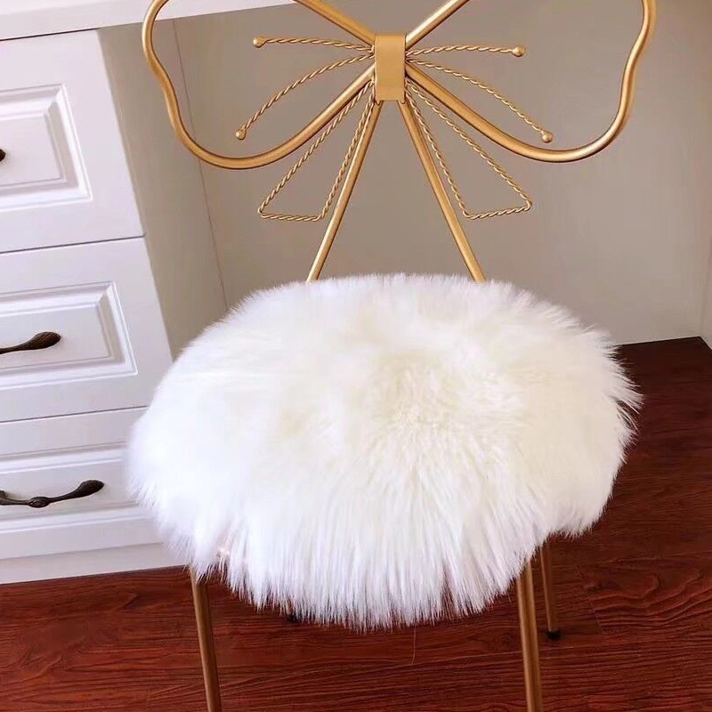 Home Textile Artificial Wool Sheepskin Cushion Chair Bedroom Mat Artificial Wool Rug Soft Warm Hairy Carpet Seat Textil Fur Area Rugs 35/40cm Cushion