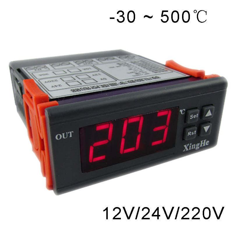 -30`500 Celsius Degree Full Temperature Controller For Heating Or Cooling System High Temperature Thermostat 12V 24V 220V