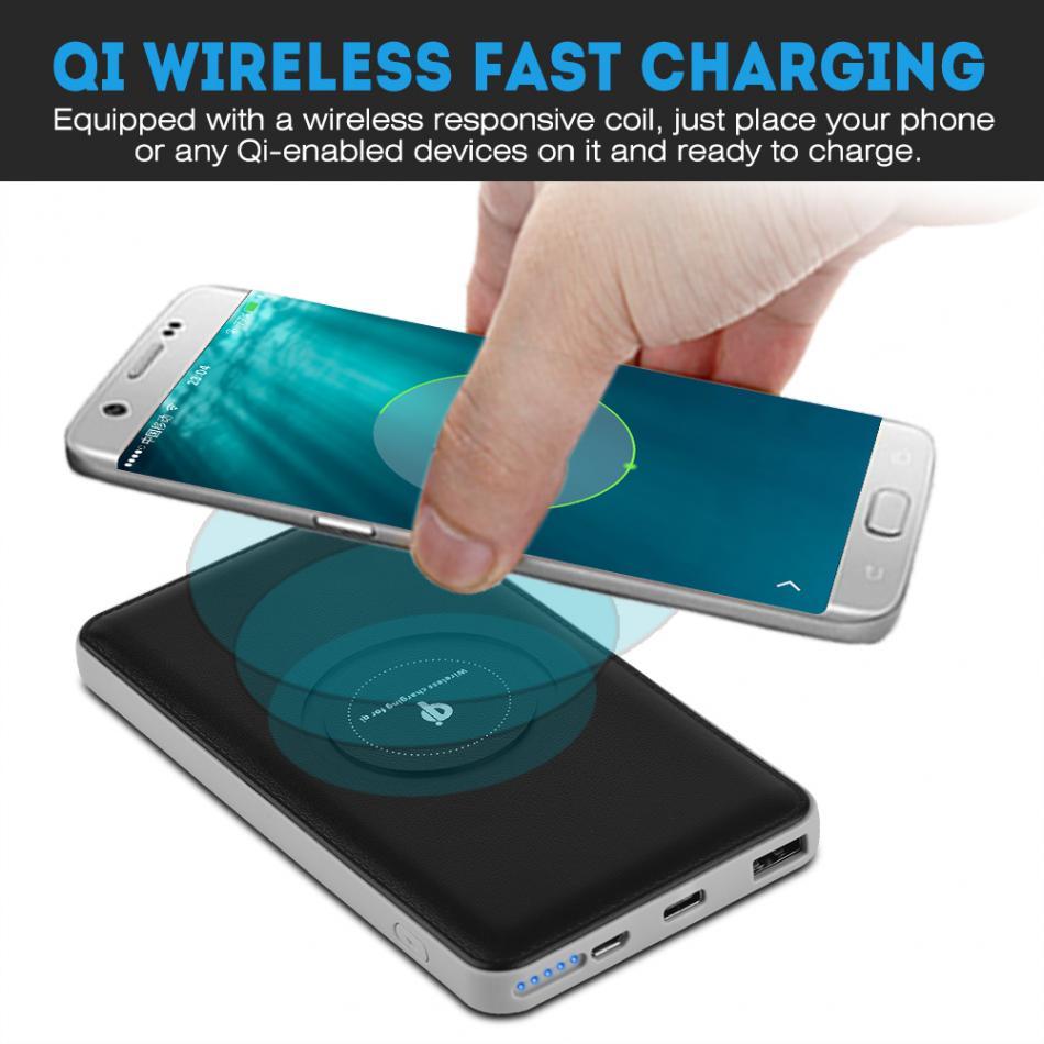 (Not <font><b>Battery</b></font>) Power bank DIY Kit 8000mAh Portable Micro USB Type-C Qi Wireless Fast Charger Mobile Power Bank <font><b>Case</b></font>