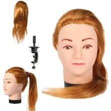 Лидер продаж золото 50 см Длина Учебные головы-манекены высокое Температура Волокна волос Парикмахерские женский манекен Учебные головы-манекены