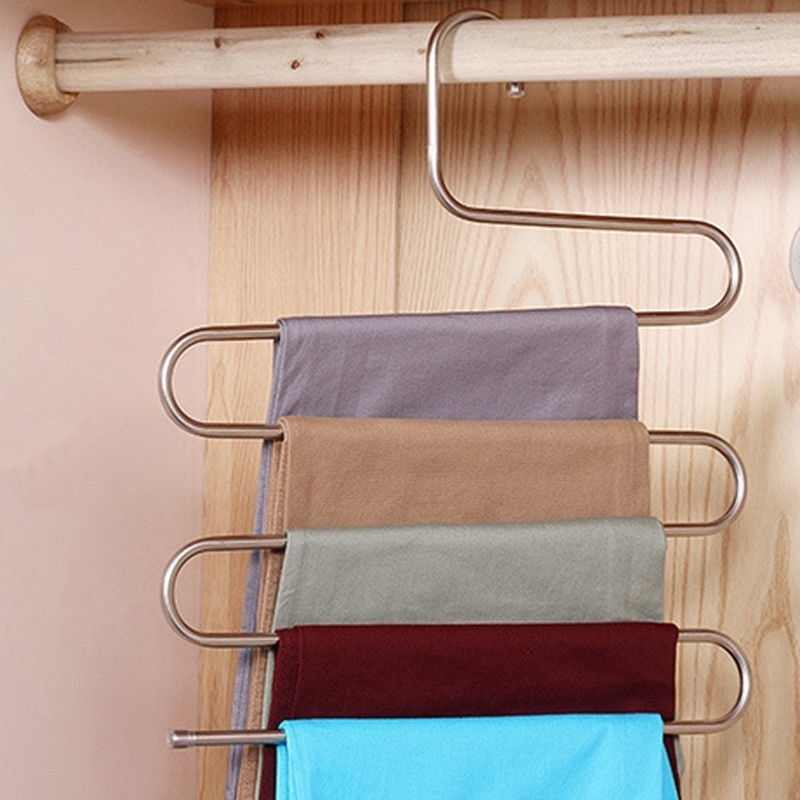 Trousers Hanger Multifunction Pants Closet Belt Holder Rack S-type Foldable Wardrobe Hanging Bags Socks Organizer