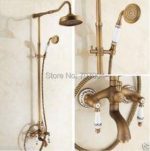 Античная латунь душ ванна кран комплект и 8 » осадки насадка для душа + ручной душ