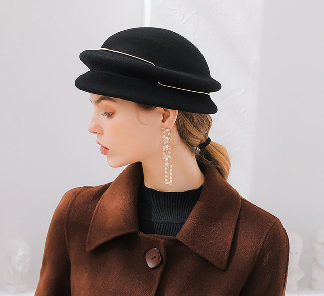 Fibonacci Women's Beret Autumn Winter Fedora Hats Metal Ring Banquet Wool Felt Hat